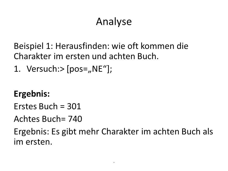"""Analyse Beispiel 1: Herausfinden: wie oft kommen die Charakter im ersten und achten Buch. Versuch:> [pos=""""NE ];"""